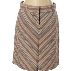 Tan pink striped a-line knee length skirt, cotton